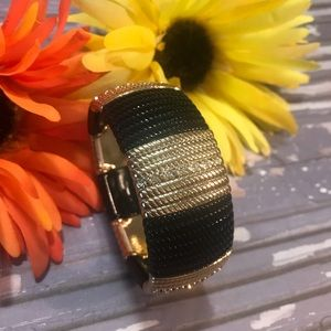 Women's Chunky Bangle Stretch Bracelet Black Gold